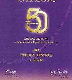 WYRÓŻNIENIE DLA POLKA TRAVEL – ZŁOTA 50 ROKU 2011
